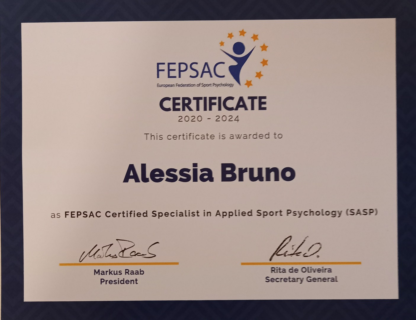 Accreditation with European Federation of Applied Sport Psychology  FEPSAC